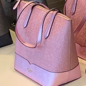 Kate spade Lola glitter tote large pink